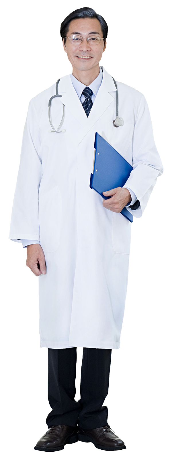 Person in hospital clothing with arms folded