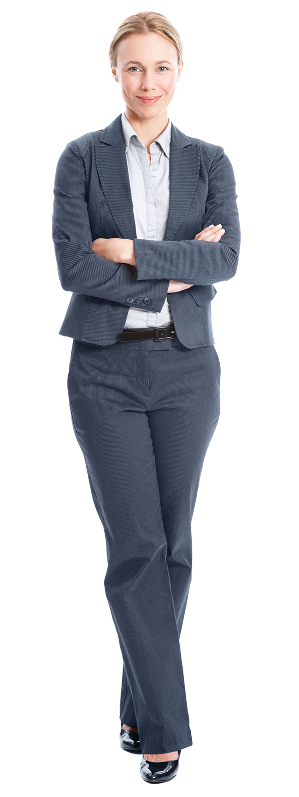 Person wearing a suit with arms folded
